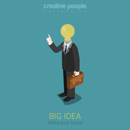unrecognizable person: Big idea creative lightbulb flat 3d web isometric infographic concept vector. Creative people collection.