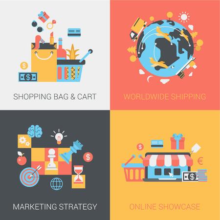 negocios internacionales: Ir de compras, el envío, la estrategia de marketing y el concepto de tienda en línea. El carro y la bolsa, la entrega en todo el mundo, la comercialización, el escaparate. Vector icono banderas plantilla de conjunto. Ilustración del Web. Infografía elementos del sitio web.