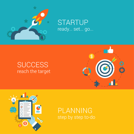 checklist: Flat style business startup planning launch and success infographic concept. Spaceship fly bow arrow in target schedule plan checklist web site icon banners templates set. Hero unit parallax template.
