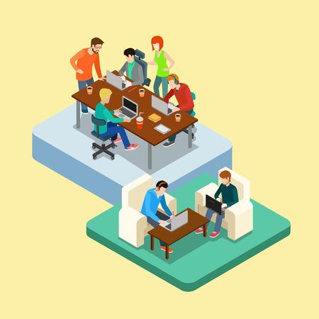 동업 플랫 3D 웹 아이소 메트릭 인포 그래픽 개념 벡터. 두 위치에 사람들의 그룹을 공동 가공. 광고 대행사의 업무 프로세스의 사무실. 창의적인 사람