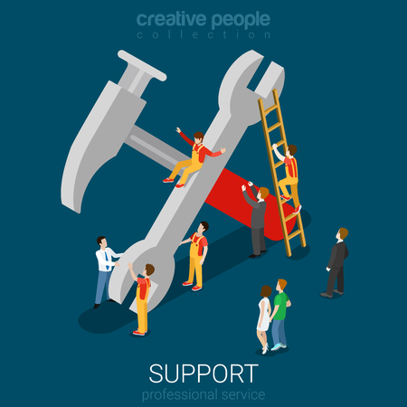 worker person: Support service professional guarantee maintenance concept flat 3d web isometric infographic concept vector. Micro people on big hummer wrench sign. Creative people collection.
