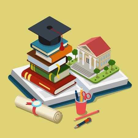 libro caricatura: Colegio Universitario de graduación de educación 3d isométrica plana web