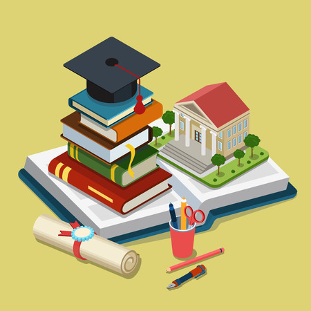 education: College university education graduation flat 3d web isometric