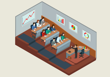 teacher and students: Business training education concept flat 3d web isometric infographic vector. People in auditory listening to lecture teacher. Creative people collection.