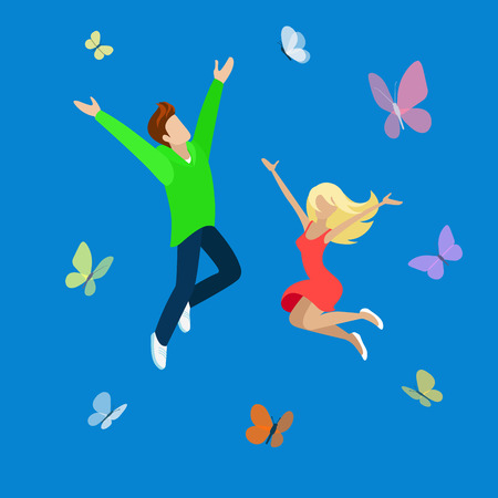 hapiness: Happy high jump young couple flat 3d web isometric infographic lifestyle hapiness concept vector. Jumping joy and fun to the sky with butterflies raising hands up. Creative people collection.