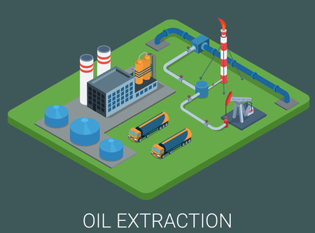 mining: Petroleum production extraction process cycle flat 3d web isometric infographic concept vector. Oil derrick, refinery, logistics delivery tank car truck cistern tanker. Power and energy collection.