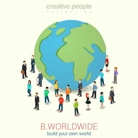 Be worldwide cosmopolitan globalization flat 3d web isometric infographic concept vector. Micro people standing around huge earth planet globe. Creative people collection. Vettoriali