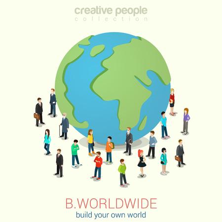 Sé todo el mundo la globalización cosmopolita plana 3d web isométrica vector de concepto de infografía. Micro gente de pie alrededor de enorme globo planeta tierra. Colección de la gente creativa.