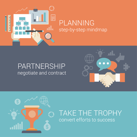 Vlakke stijl business planning, partnerschap en het succes resultaten verwerken infographic concept. Hand tekening strategie grafiek mindmap, contract handdruk, trofee cup website icon banners sjablonen set.