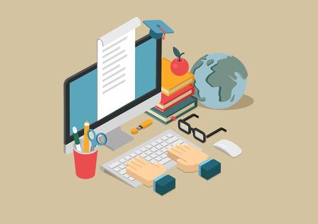 플랫 3D 웹 아이소 메트릭 온라인 교육, 전자 학습, 교육 과정 인포 그래픽 개념 벡터. 키보드, 사과, 데스크톱 컴퓨터, 글로브, 책, 플래시 드라이브, 문 일러스트
