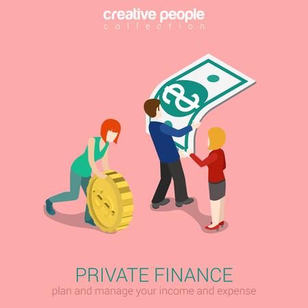 개인 금융 플랫 3D 웹 아이소 메트릭 인포 그래픽 개념 벡터. 오버 사이즈 금화 롤링 여자 들고 남자 자란 달러 지폐. 창의적인 사람들의 컬렉션입니다.
