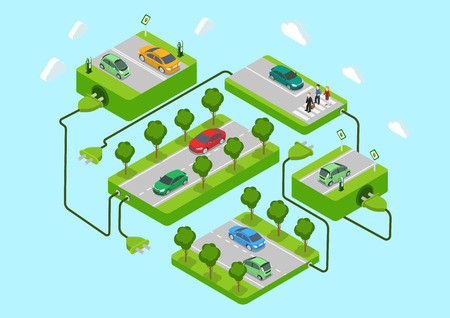 Electric cars flat 3d web isometric alternative eco green energy lifestyle infographic concept vector. Road platforms, refill stations, power cord connection. Ecology power consumption collection.