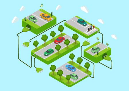 energia electrica: Los coches eléctricos plana 3d web alternativa isométrica eco verde estilo de vida energético concepto infografía vector. Plataformas de carreteras, estaciones de recarga, de conexión del cable de alimentación. Ecología colección consumo de energía.