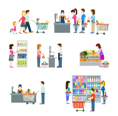 holiday shopping: Flat style people in shopping mall supermarket grocery shop figure icons. Web template vector icon set. Lifestyle situations icons. Family holiday weekend with cart cash desk fruit vegetable weighting.