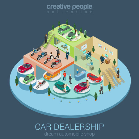 Flat 3d isometric car dealership sale concept vector. Sedan, electric car, convertible cabrio, luxury, motorbike indoor interior floors walking shoppers. Multi-use vehicle salon store business concept Ilustracja