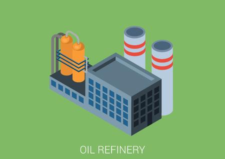 economic cycle: Oil refinery plant flat 3d web isometric infographic concept vector. Petroleum collection.