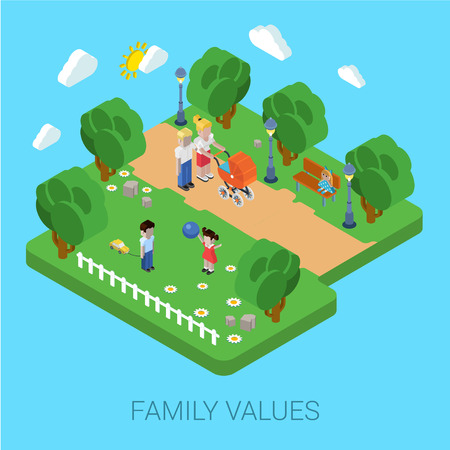 parenting: Flat 3d family values parenting children kids people concept. Parents in park mother father pram buggy girl boy son daughter. Website isometric infographics design web elements vector illustration. Illustration