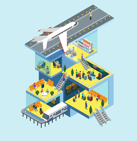 plane landing: Airport building people, runway, airstrip, landing strip, plane flat 3d web isometric infographic concept vector. Rooms interior, staff, plane departure, passport security control, duty free zone Illustration