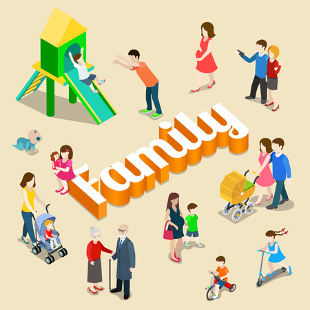 child couple: Family modern lifestyle flat 3d web isometric infographic vector. Young joyful parents micro male female group parenting mother father dad mom huge letters. Creative people collection.
