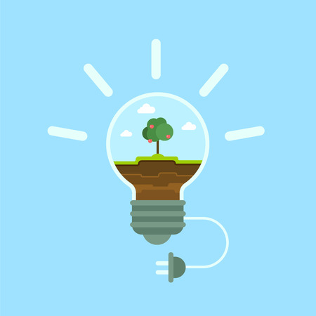 economy: Flat ecology green energy template. Eco lamp with green grass and apple tree, power supply plug. Flat isometry ecological power economy consumption collection.