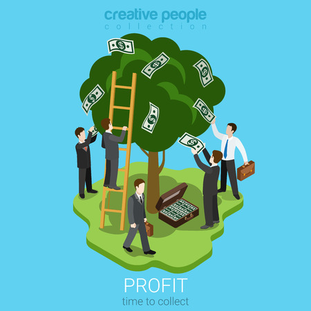 collect: Time to collect profit concept flat 3d web isometric infographic concept vector. Men pluck dollar money banknotes from the tree to the briefcase. Creative business people collection.