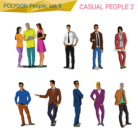 casual people: Polygonal style casual people set. Polygon people collection.