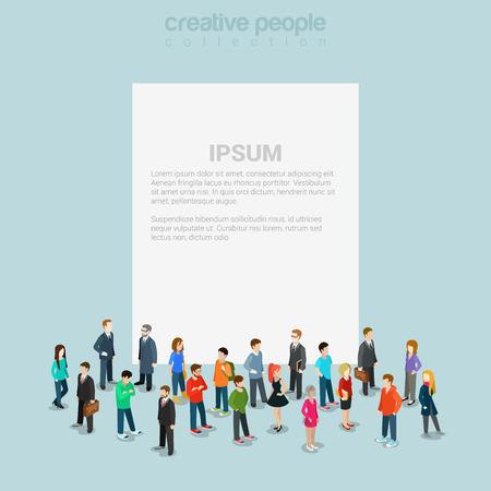 emberek: Üres banner sablon tömeg mikro emberek lapos 3d web izometrikus Illusztráció