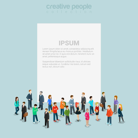 people standing: Blank banner template crowd micro people flat 3d web isometric