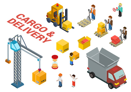 truck crane: Flat 3d isometric cargo delivery shipment loading web infographic concept vector icon set template. Delivery van, crane, manager, foreman, box, crate, hourglass, loader, pallet and movers icons.