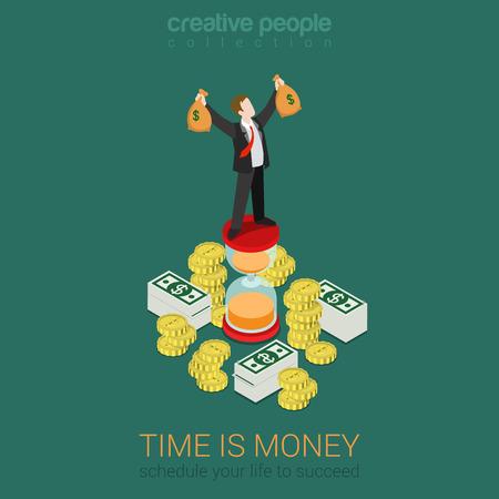 argent: Le temps est la gestion des horaires de l'argent plat 3d isométrique web concept d'entreprise vecteur infographie. Heureux homme d'affaires prospère sur sablier haut la hausse des mains avec des sacs d'argent. Creative collecte de personnes. Illustration