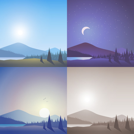 sunset lake: Flat landscape hilly mountain wild lake forest scene set. Stylish web banner nature outdoor collection. Daylight, night moonlight, sunset view, retro vintage picture sepia. Illustration