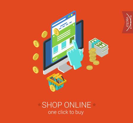 klik: Online winkelen proces website item te kopen klik betalen flat 3d isometrische pixel art modern design concept vector icon. Web banner illustratie website klik infographic e-commerce store interface.