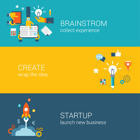 Flat style brainstorming, idea creation, startup infographic concept. Businessman hands meeting brainstorm, innovation wrap research, spaceship launch new business web site icon banners templates set. Reklamní fotografie - 48578916