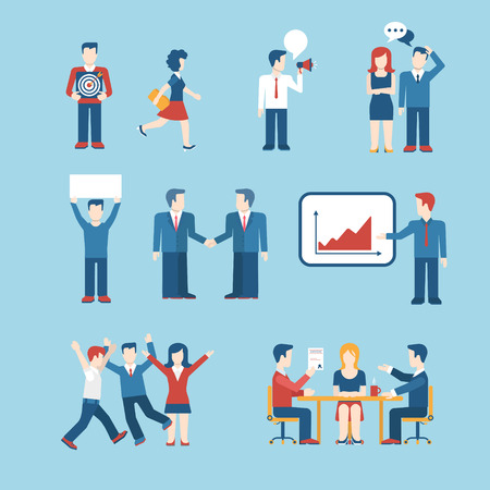 ceo: Flat style business people figures icons. Web template vector icon set. Lifestyle situations icons. Marketing target, chat message, talk, banner in hands, handshake, party, report presentation.