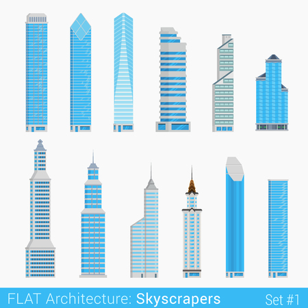 modern building: Flat style modern buildings skyscrapers set. City design elements. Stylish design architecture collection.