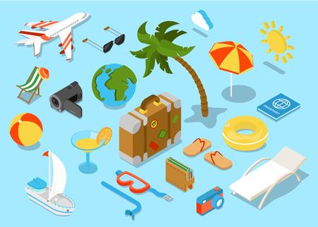 turismo: oggetti piani 3D di viaggio isomectric set di icone Vettoriali