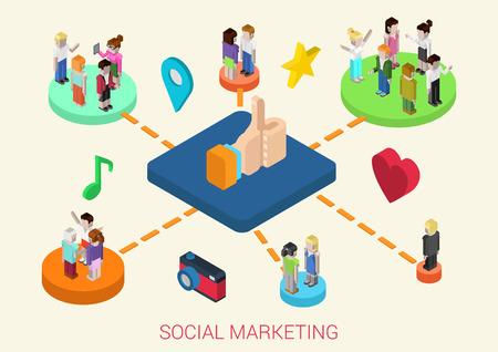 plataforma: Piso 3d isométricos conexiones de redes sociales la gente de marketing digital en línea web concepto infografía vector. La gente en las plataformas conectadas amor, la amistad, los intereses, los negocios, la reminiscencia, recuerdos.