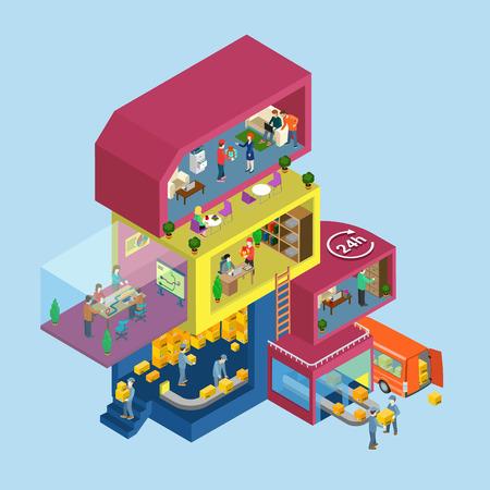 Servicio a domicilio oficina proceso plana 3d web isométrica vector de concepto de infografía. Habitaciones isométricas exteriores e interiores con los trabajadores del personal personas. Gestion de almacenes. Colección de la gente creativa.