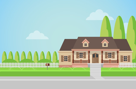 Flat style countryside family house with backyard lawn concept. Architecture design elements. Build your world collection. Illustration