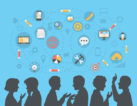 tormenta de ideas: estilo plana gente de negocios modernas siluetas de intercambio de ideas, reunión, el chisme, los medios de comunicación social Concepto de contenido web vectorial. Hablar de negocios y parejas de negocios conjunto de iconos collage.