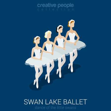 swan lake: Dancing ballerinas. Swan lake ballet. Dance of little swans. Flat 3d isometric classic ballet female performers. Creative people collection.