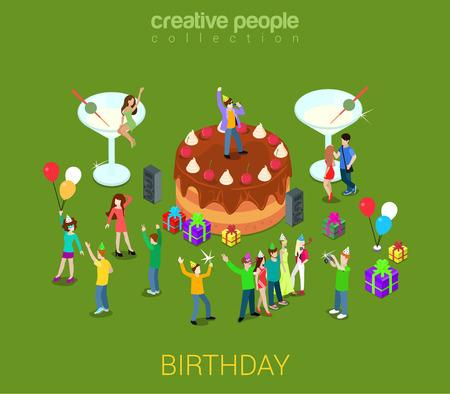 cake: Torta de cumpleaños fiesta de crema de chocolate tarta con la gente alrededor de micro. 3d concepto plana creativo isométrica para el servicio de organización de eventos de vacaciones. Vectores