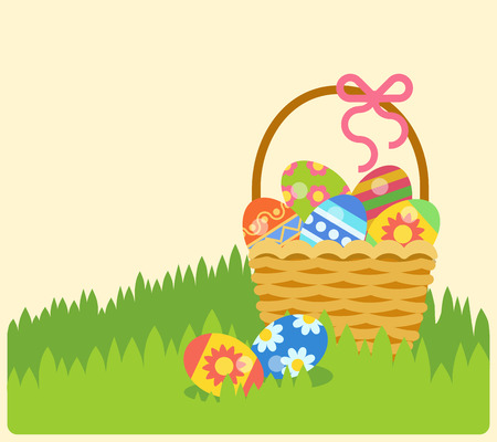 easter basket: Easter holiday flat style postcard template