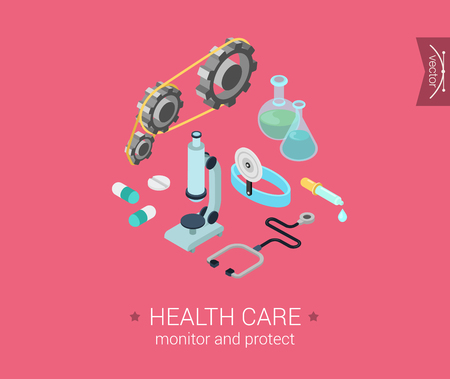 cask: Health care flat 3d isometric pixel art modern design concept vector icons composition set. Microscope, gears, stethoscope, cask, bulb, cure pills. Web illustration flat click infographics collection.