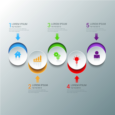 circle design: Simple stylish multicolor circle icon steps infographics mockup template. Infographic background concepts collection.