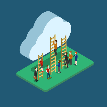 climbing ladder: Flat 3d web isometric people using cloud technology infographic concept vector. Man and woman climbing ladder to the cloud. Online distributed media data storage. Creative people collection.