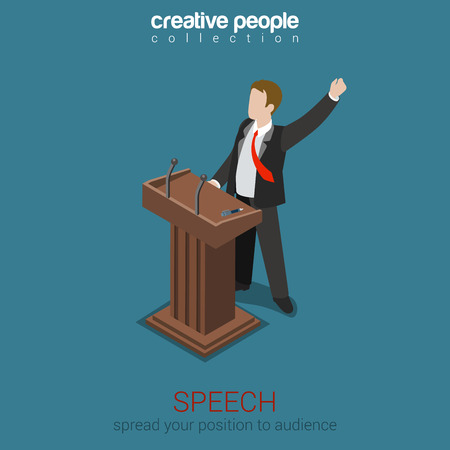 politics: Tribune speech business politics concept flat 3d web isometric infographic vector. Emotional report presentation to audience voter electorate. Creative people collection. Illustration