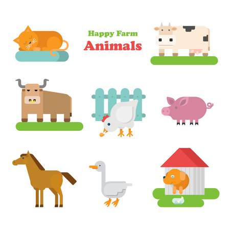kiddy: Funny flat kid style happy farm animals icon set. Cat dog cow bull hen pig horse goose. Zoo animal web infographic collection.