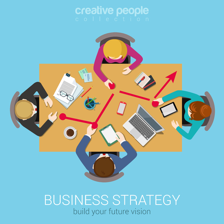 Accountant: Business strategy line graphic report creative team brainstorming flat top table view web concept. Group of people moving points to chart. Data analysis, corporate reporting website banner conceptual.
