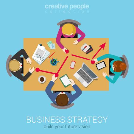 Geschäftsstrategie Liniengrafik Bericht kreatives Team Brainstorming flachen oberen Tabellenansicht Web-Konzept. Gruppe von Menschen in Bewegung zeigt auf Diagramm. Datenanalyse, Unternehmensberichterstattung Website Banner konzeptionelle. Standard-Bild - 48579014